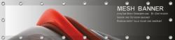 Banner 100x50 cm, Meshgewebe, 270g/qm, rundum geöst und umsäumt